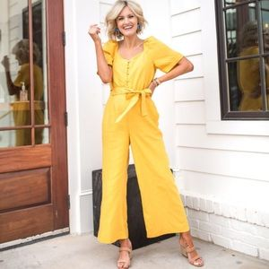 NWT Ann Taylor Mustard Puff Sleeve Wide Jumpsuit